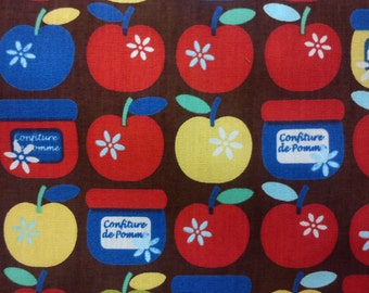 SALE - Apple and jar, brown, 1/2 yard, pure cotton fabric