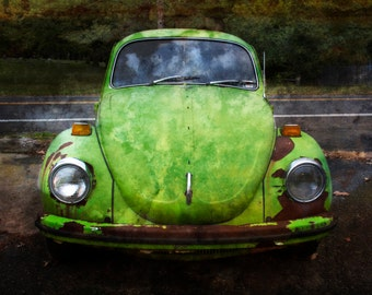 Lime Green VW Beetle Photograph, Color Photography, Vintage Car, Volkswagen Beetle, Rust, Dreamy, Earth Tone, Home Decor, Art Print