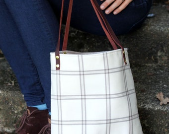 white plaid and leather tote bag // plaid tote // leather tote by rouge and whimsy