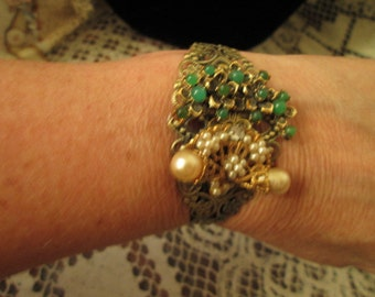 Vintage re-purpose jewelry as a bracelet