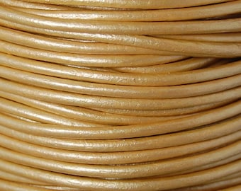 Metallic Gold Leather 2mm Cord 3 Yards / 9 Feet / 2.74 Meters