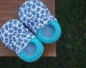 Baby Shoes for Boys - Little Grey Elephants with Teal Circles - Custom Sizes 0-3 3-6 6-12 12-18 18-24 months