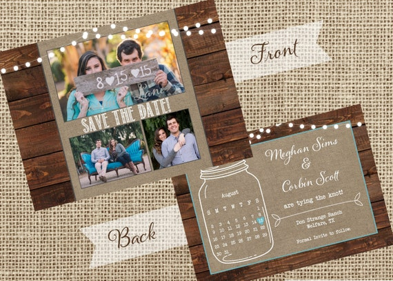 Engagement Invite-Save the Date- Mason Jar Invite-Photo-Calendar-BBQ Invite- Casbury Lane