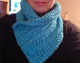 Turquoise crochet Cowl Scarf, Cowl Scarf Buttons