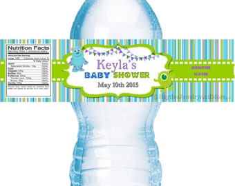 Monster Inc water bottle labels Moster inc Theme Baby Shower