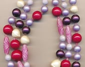 Chunky 3-strand vintage DeMario necklace - lucite beads in multiple colors