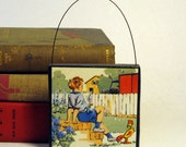 BOYS CHRISTMAS ORNAMENT Handmade Ornament from Vintage Upcycled Book Christmas Ornament
