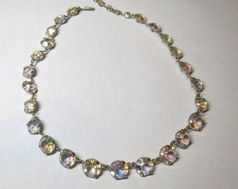 Pretty Vintage 50s Bezel Set Iridescent Rhinestone Crystal Necklace
