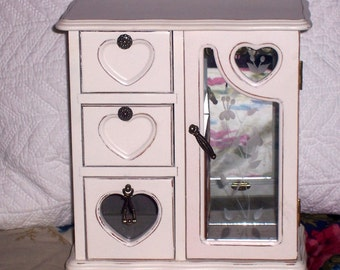 Vintage  jewelry box  romantic french farmhouse style in distressed  shabby heirloom  stained glass door