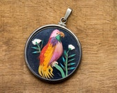 Free Shipping ~ Unique Vintage Bird Feather Art Pendant For Restoration
