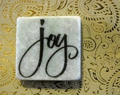 Joy....marble stone inspirational words square magnet 2x2..gift favors