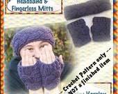PDF Crochet Pattern Cabled Headband and Fingerless Mitts Chunky version