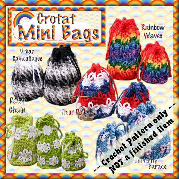 PDF Crochet Tatting Pattern Mini Bags