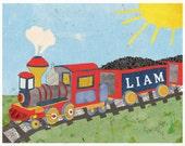 Choo Choo Train, Personalized Nursery Decor, Children's Wall Art, Train Art, Boy, Personalized, Customized, Nursery Toddler, Boy Room Art