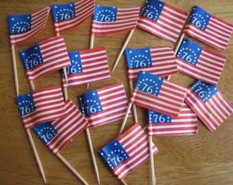 Vintage American Bicentennial Flags Toothpick Cake Toppers    Lot of 16   1970's