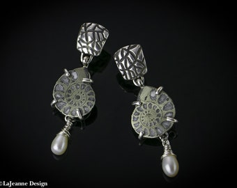 Relic - Ammonite Fossil with Freshwater Pearl Sterling Silver earrings