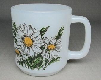 GLASBAKE daisy mug , vintage milk glass coffee mug .
