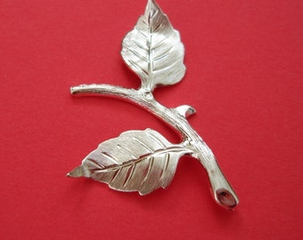 2-Branch  Leaf Embellishment   Sterling Silver over  Brass  Stamping Pendant .