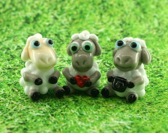 Sheep Lampwork  sculpture / miniature / figurine