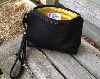 Leather wristlet, make-up bag, clutch purse, small silk-lined upcycled black leather