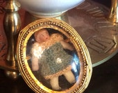 1800's Tiny Frozen Charlotte Doll Brooch in Original Croquet Dress