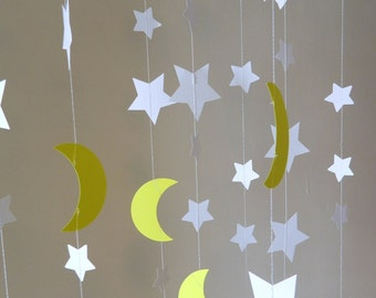 Stars and Moons Paper Garlands- To the Moon and Back Decorations- Baby Shower Decor- DIY Nursery Mobile- Birthday Decorations
