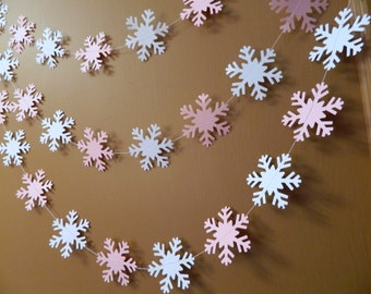 Snowflake Garland, Winter Onederland Birthday Decor, 6ft Snowflake Garland, Pink and White Snowflake Garland, Snowflake Garlands