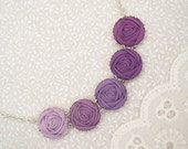 Amethyst Rose Necklace - Fabric Flower Prom Necklace in Violet & Phlox Silver Lace