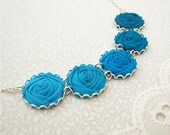 Cerulean & Turquoise Blue Flower Necklace - Fabric Rose Necklace in Vibrant Ocean Hues