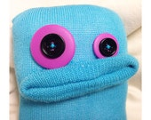 Blue Monster with Purple Button Eyes