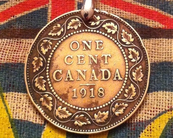 1918 WWI Era Canadian Large Penny Coin Necklace Classic Maple Leaf Wreath Design