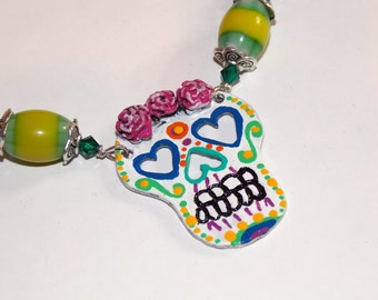 Amor Immortal Necklace and Earring Set - Hand-painted Sugar Skull in Pink, Yellow and Green