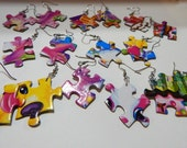 Retro 80s puzzle peices neon awesome colors upcycle rad jewelry kitty puppy candy chocolate cute