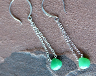 Emerald Earrings, Delicate Silver Chain, Dangling Earrings, Cushion Cut Emerald, Natural Emerald, Sterling Silver