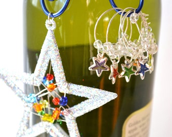 Christmas New Years Wine Bottle Decoration with Wine Glass charms with Stars Hostess Gift