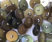 Littles Vintage Green Metal Shank Buttons/100 Littles Green Buttons(j99)