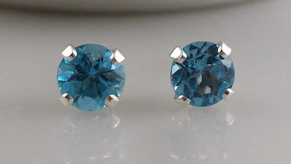 Sterling Silver Blue Topaz Gemstone Stud Earrings - November Birthstone Earrings- 5mm Swiss Blue Topaz Studs
