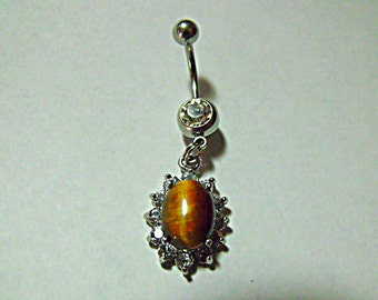 Belly Ring, Tiger Eye Gemstone With Rhinestones  Womens Gift Handmade