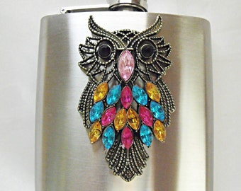 Flask,  Colorful Large Owl With Rhinestones,  Womens Gift Idea Wedding Favors Flask For Women Handmade  6 Ounces