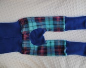 Size 2 Fleece Maxaloones - Blue and Pink Plaid - Fits 2T, 3T, 4T, and some 5T Grows with child - Pants for Cloth Diapers - Ready To Ship