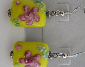 Yellow and pink floral lampwork glass bead earrings