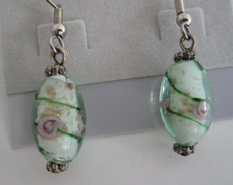 Mint green, gold, and pink rose lampwork glass bead earrings