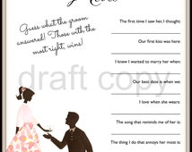 Bridal Shower / Bachelorette Party Game- Instant Download