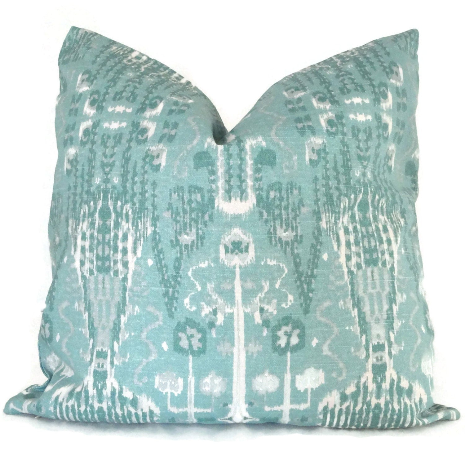 22x22 Throw Pillow Covers : Aqua Ikat Decorative Pillow Cover 18x18 20x20 22x22 or