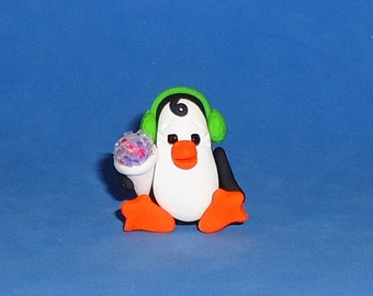 Polymer Clay Penguin with Snowcone