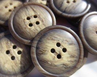 "Large Brown Buttons 1 1/8"" Plastic Tonal 4 Hole Set of 24"