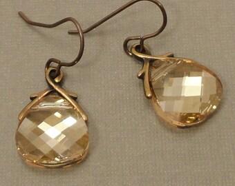 Golden Shadow Swarovski Crystal and Brass Earrings