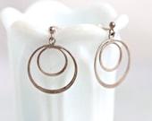 Sterling Silver Circles - Vintage Dangle Earrings
