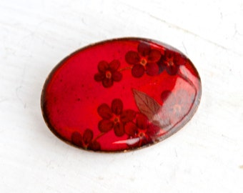 Red Flowers Oval Brooch