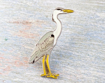 Crane Bird Badge - wildlife lapel pin